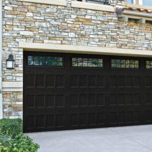 black garage door
