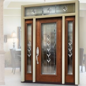 Front door with glass panel windows