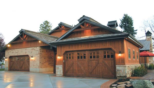 Ranch style carriage house doors of commercial property