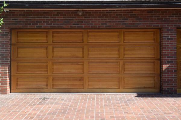 Wooden garage entrance door