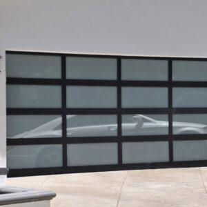 black glass garage doors