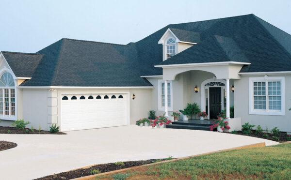 blue roof brick house
