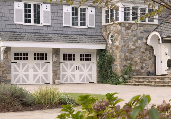 white and gray garage doors