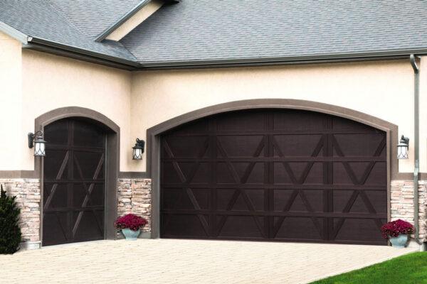 beige house with brown garage doors