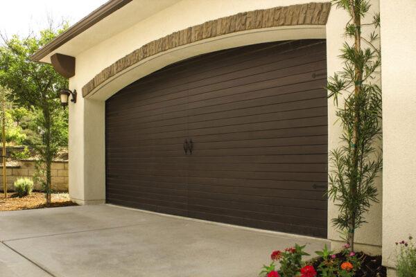 big brown wooden garage door
