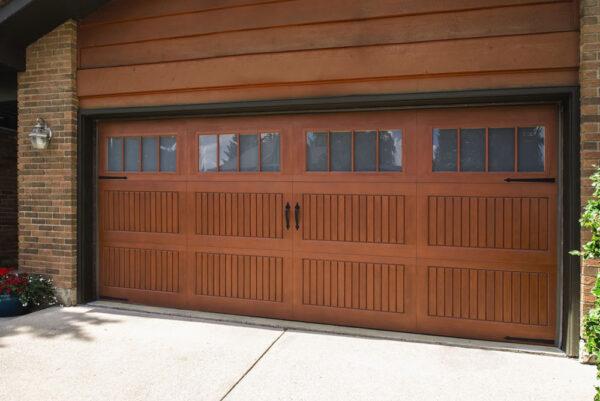 wide wooden garage door