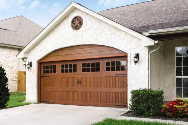 wide red oak garage door