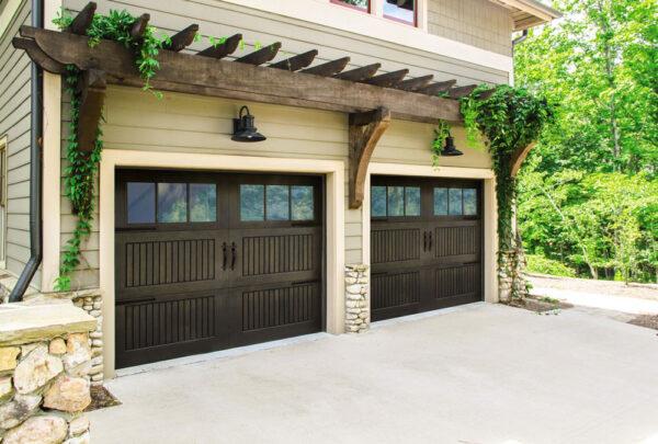 2 walnut garage doors