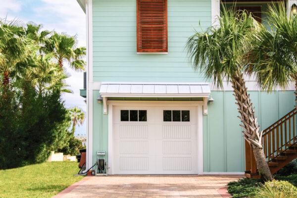 small white garage door