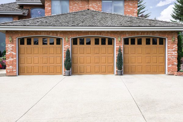 3 oak garage doors