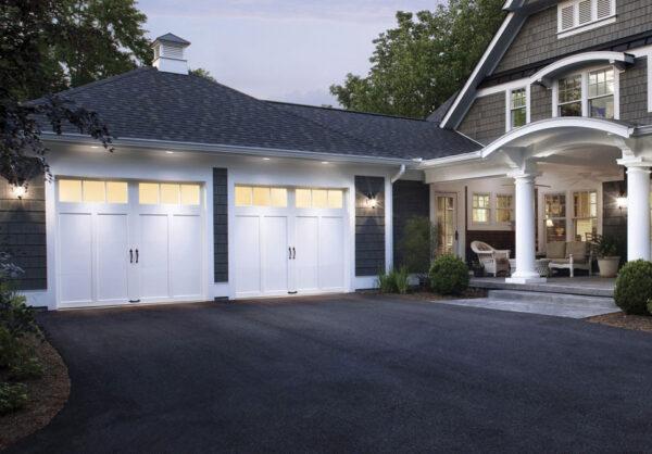 White garage doors with handles