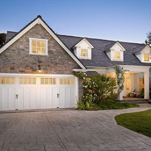 large garage doors of a house