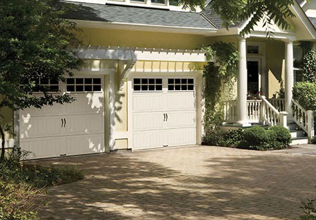 white garage doors with handle
