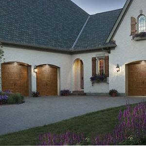 gray roof and wooden doors