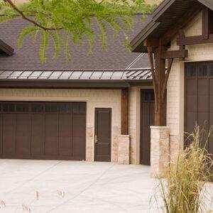 dark brown carriage house garage doors