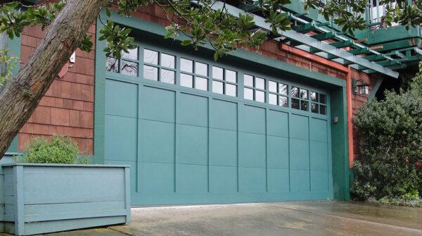 blue carriage garage door