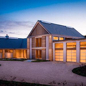 modern house with multiple garage doors