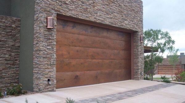 Copper garage doors design