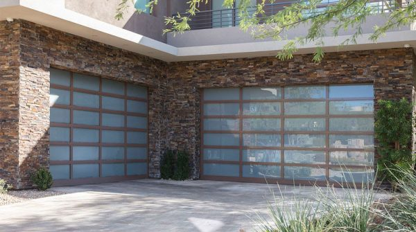 glass garage doors with wood tone frames