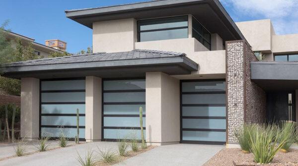 rustic house design with glass garage doors