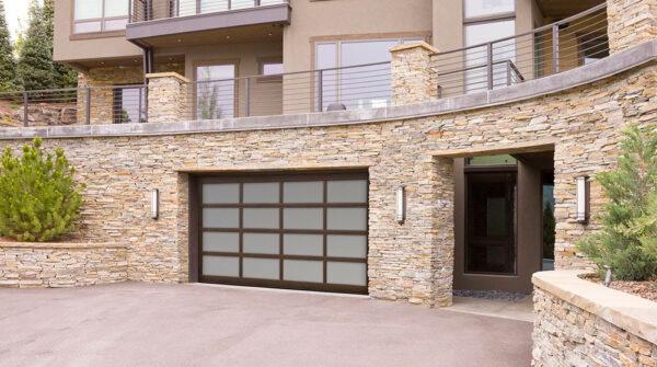 brown glass garage doors