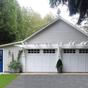 white house facade with blue door