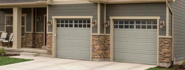 brick house with modern garage doors