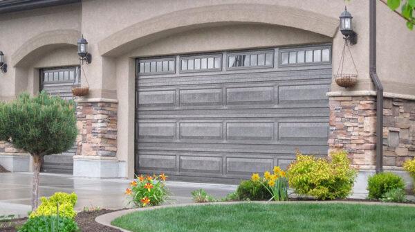 front view of standard garage doors