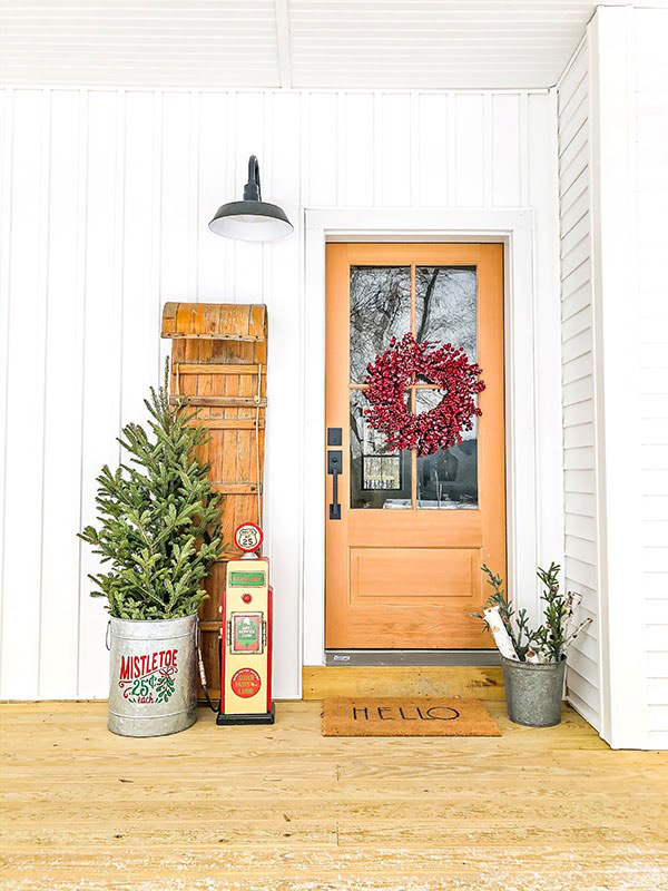 christmas decors by the front door