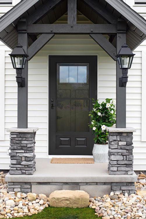 dark gray front porch