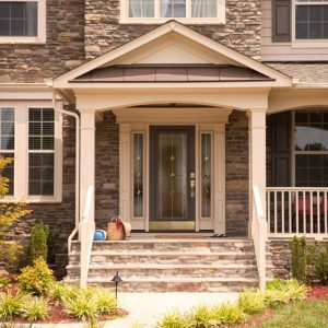 large front porch with garden lawn