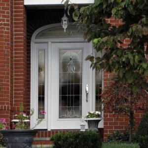 front door and brick red walls