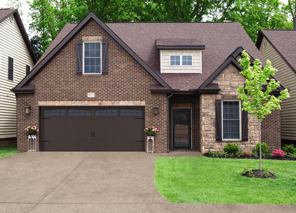 modern home with black garage door