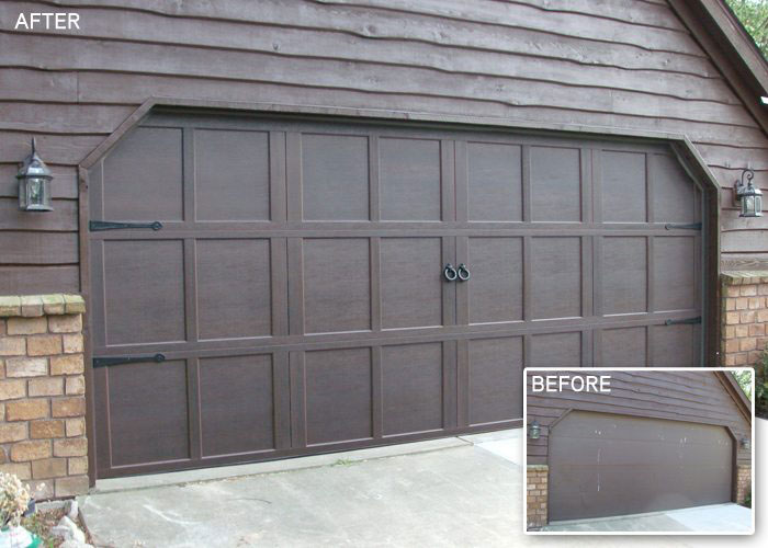 before and after of brown garage door