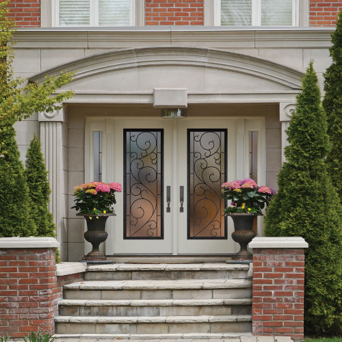 front double door with stairs