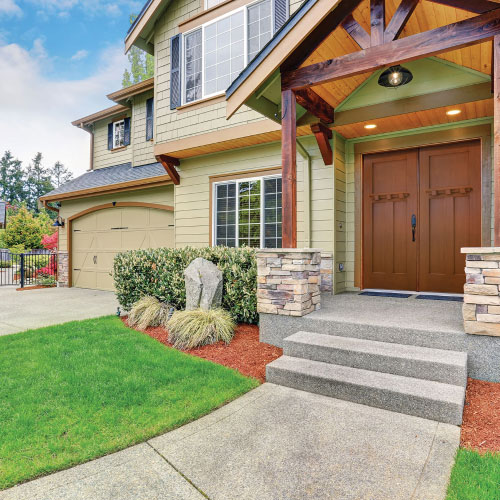 traditional home with double door