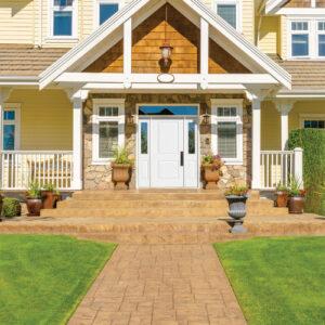 orange modern home with white doors