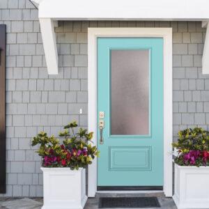 home with caribbean blue door