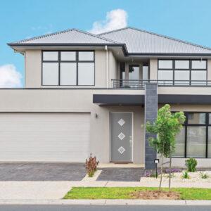 modern gray home with big garage