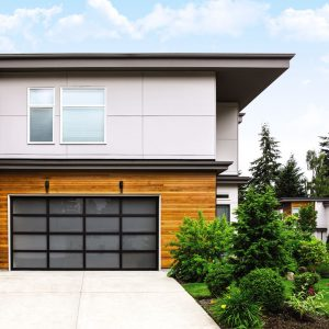 black lined exterior