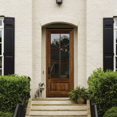 single glass door with wooden frame