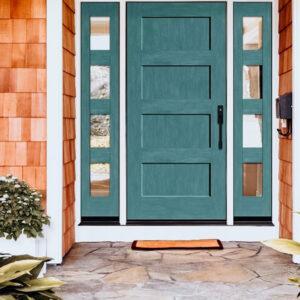 blue green wooden door