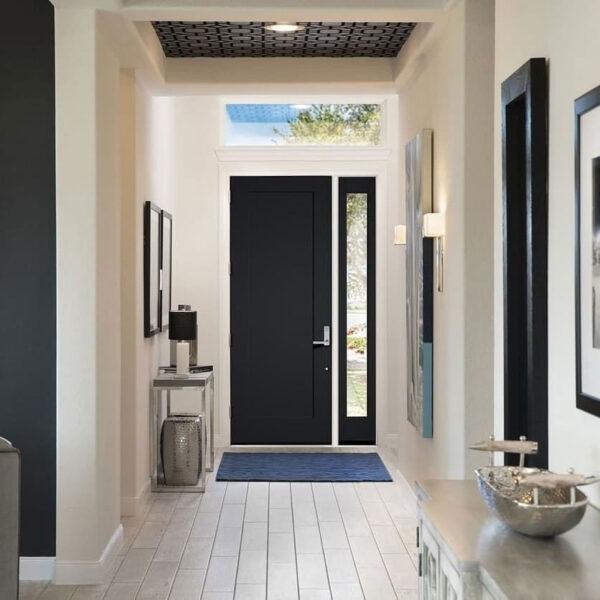 black front door from inside house