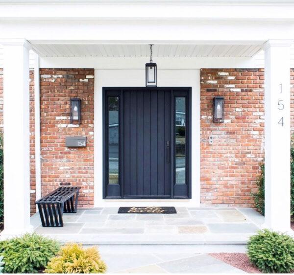 black wooden front door