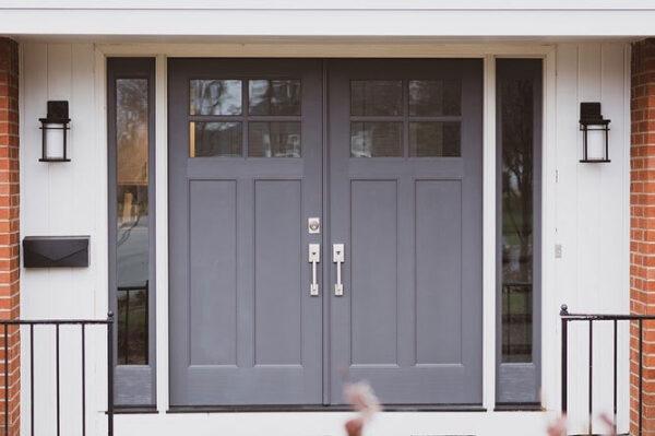 gray wooden doors with silver handles