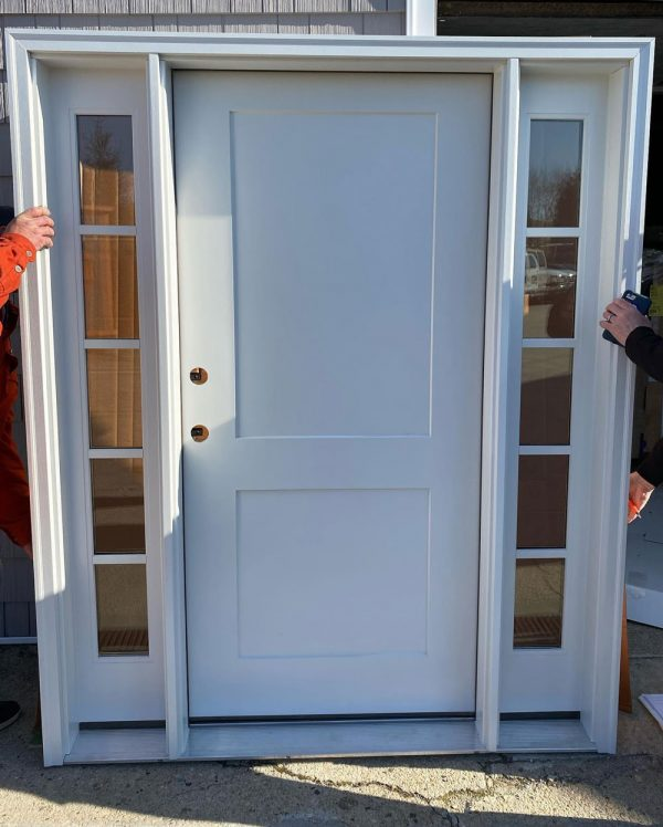 clean white door with small side windows