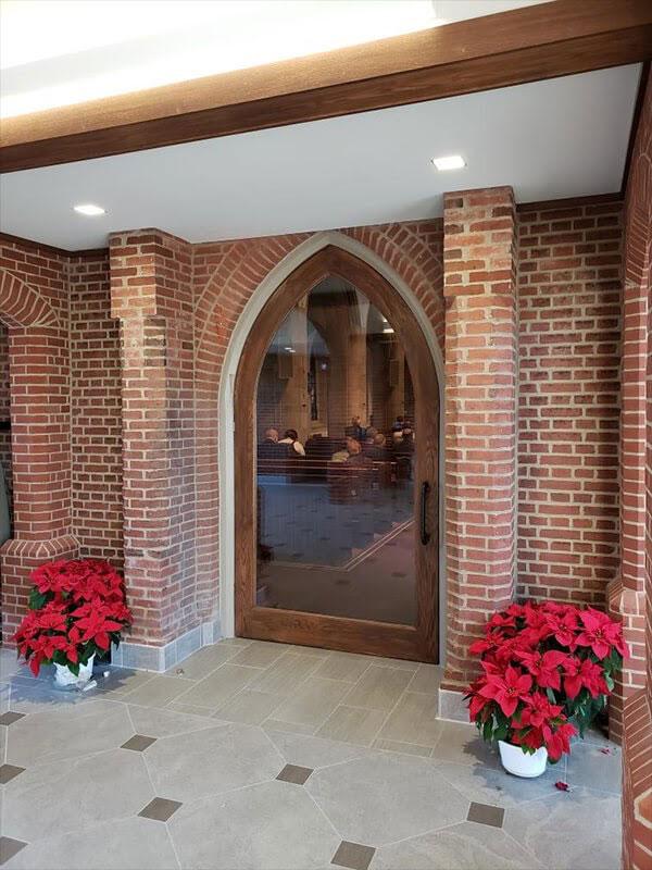 glass and wood church door design