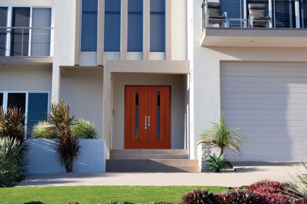 contemporary wood double front door design