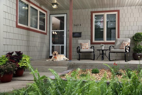 Dog sitting by the front porch