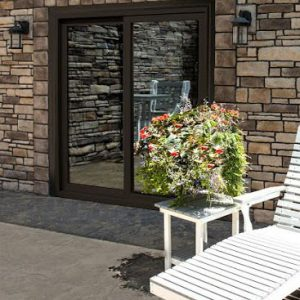 Brick wall and glass door